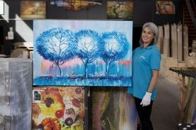 Canvas Wall Art 3 Blue Trees  Abstract, Glowing in the dark, 80 x 120 cm